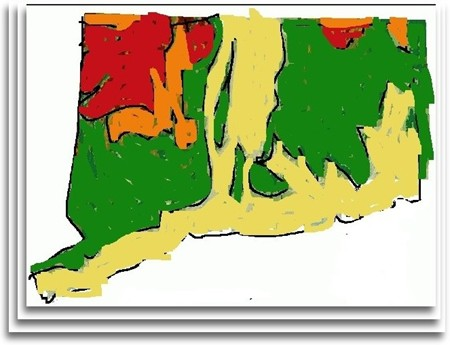 Orange And Red Dry Land In Ct By 22nd Century Perhaps Sea Level Rise Model Artist S Interpretation Above In Land Use Colors